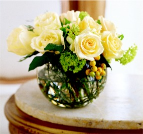 A Romantic Arrangement of Roses in a Low Bowl