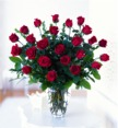 Twenty four gorgeous Long Stem Roses in a clear vase